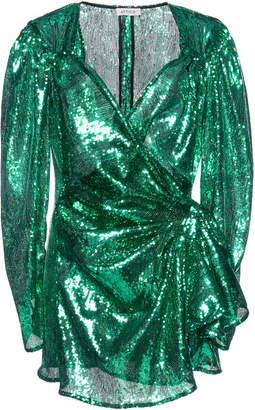 ATTICO Wrap-Effect Sequined-Tulle MIni Dress