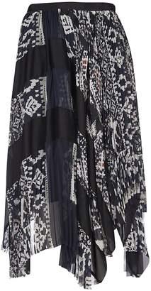 Sacai Asymmetric Mixed Print Skirt