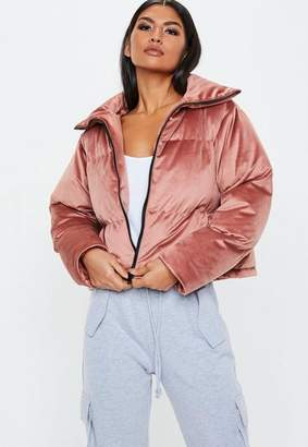 Missguided Pink Velvet Puffer Jacket