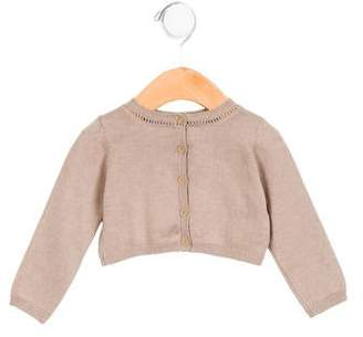 Marie Chantal Girls' Crew Neck Button-Up Cardigan