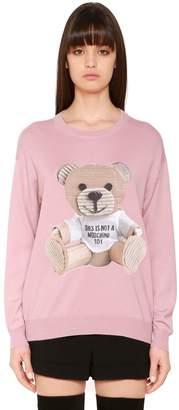 Moschino Wool Knit Sweater W/ Cardboard Bear