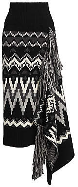Sacai Women's Fair Isle Asymmetric Wool Midi Skirt