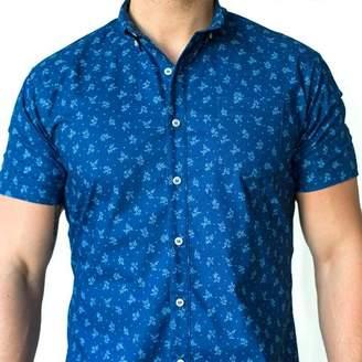 Blade + Blue Indigo Floral Print Short Sleeve Shirt - Beltran