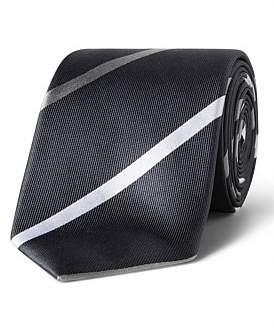 Van Heusen Grey With White Stripe Vh Silk Tie