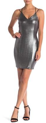 Pink Owl Open Back Metallic Bodycon Dress