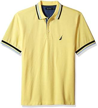 Nautica Men's Short Sleeve Performance Pique Polo with Tipping