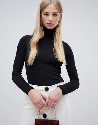 Warehouse roll neck long sleeve top in black