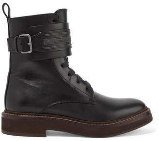 Brunello Cucinelli Embellished Leather Ankle Boots - Black