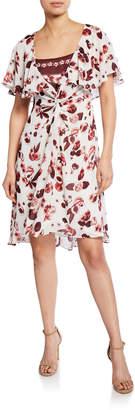 Max Studio Floral-Print Flounce Dress