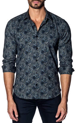 Jared Lang Men's Modern-Fit Geometric Paisley Long-Sleeve Shirt