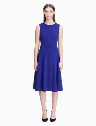 Calvin Klein solid pocket fit + flare dress