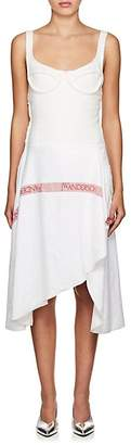 J.W.Anderson WOMEN'S LOGO RUSTIC LINEN ASYMMETRIC DRESS