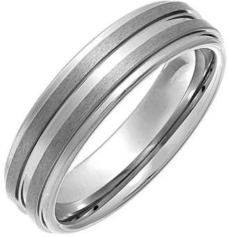 Theia Nickel Free Tungsten - Highly Polished with 2 Matted stripes - 6mm Wedding Ring for Ladies or Gents - Size P