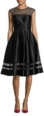 Betsy & Adam Illusion Fit-and-Flare Dress