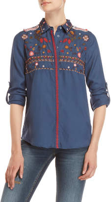 Desigual Navy Embroidered Shirt