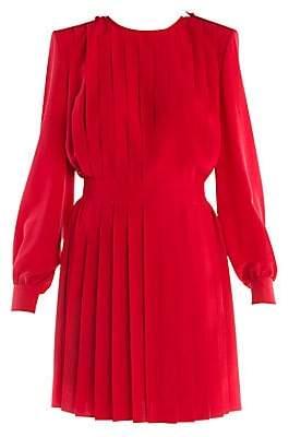 Fendi Women's Pleated Crepe De Chine Dress
