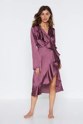 Nasty Gal Womens Sleepless In Seattle Satin Ruffle Dressing Gown - Purple - 6