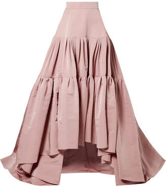 Reem Acra - Tiered Silk-faille Maxi Skirt - Antique rose