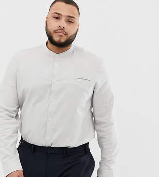 Asos Design DESIGN Plus slim fit grandad collar shirt in gray marl