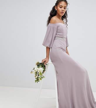 Bardot Tfnc Tall Maxi Bridesmaid Dress With Sleeve Drama And Embellished Waist