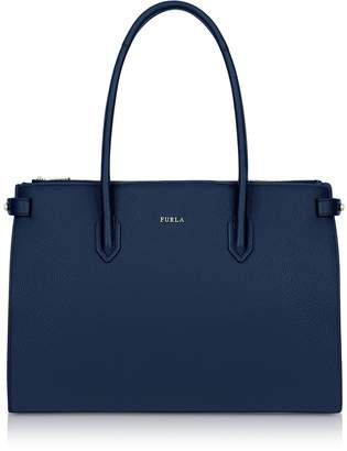 Furla Blue Leather Pin Medium E/w Tote Bag
