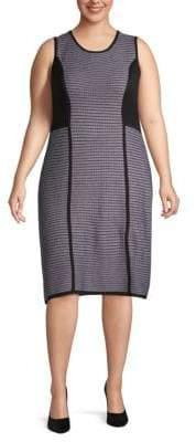 Calvin Klein Plus Striped Sleeveless Knee-Length Dress