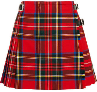 Christopher Kane Dna Glossed Leather-trimmed Tartan Wool Mini Skirt - Red