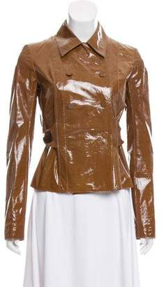 Calvin Klein Collection Patent Leather Double-Breasted Jacket