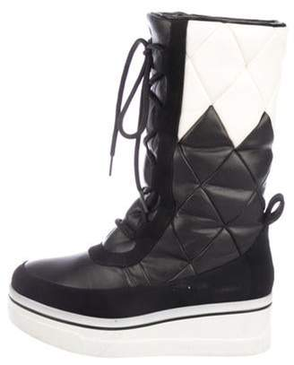 Stella McCartney Quilted Vegan Leather Boots Black Quilted Vegan Leather Boots