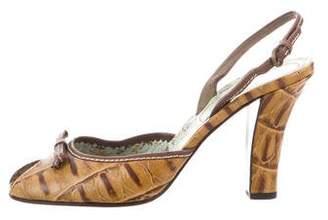 Miu Miu Open Toed Crocodile Heels