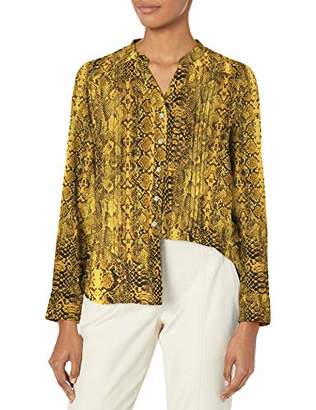 Nanette Lepore Nanette Women's Long Sleeve Printed Button-Down with Mandarin Collar & Pintucks