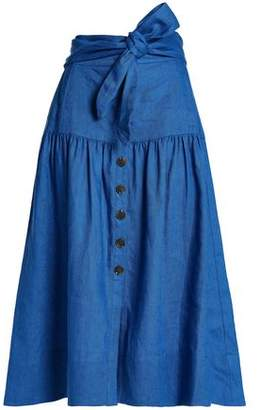 Sea Belted Gathered Linen Midi Skirt