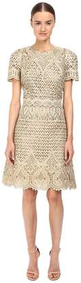 Marchesa Ornate Laser-Cut and Threadwork Brocade Cocktail with Cap Sleeves Women's Dress