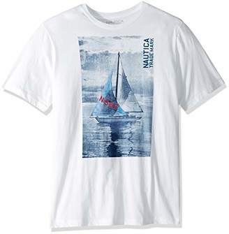 Nautica Men's Big and Tall Short Sleeve Textured Sailboat Crewneck T-Shirt