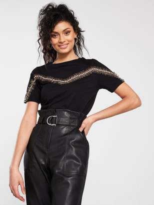River Island Leopard Trim T-Shirt - Black