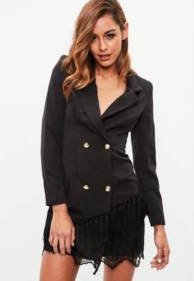 Missguided Black Tassel Lace Hem Blazer Dress