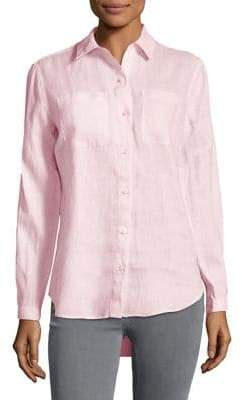 Lord & Taylor Plus Tiffany Crinkle Linen Button-Down Shirt