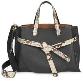 Loewe Soft Grained Leather Gate Tote With Python Trim