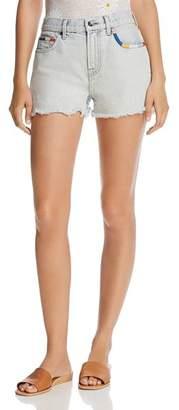 Splendid x Margherita Embroidered Cutoff Denim Shorts in Capri Wash