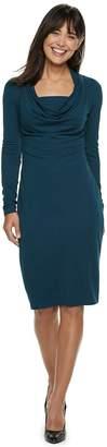 JLO by Jennifer Lopez Women's Cowlneck French Terry Sheath Dress
