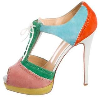 Christian Louboutin Suede Cutout Ankle Booties Pink Suede Cutout Ankle Booties