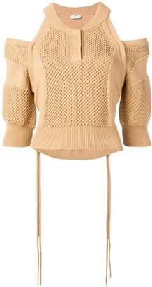 Fendi off shoulder knitted sweater