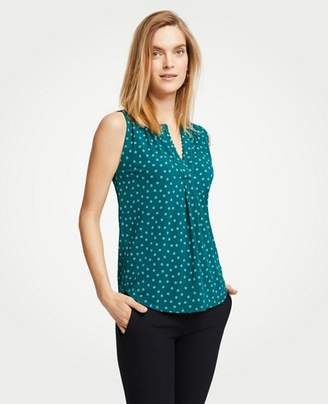 Ann Taylor Butterfly Flower Shirred Popover Shell