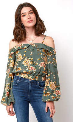 J.o.a. Floral Tie Back Off The Shoulder Blouse