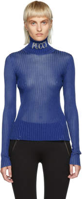 Emilio Pucci Blue Ribbed Logo Turtleneck