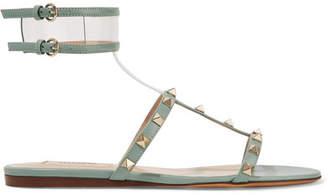 Valentino Garavani Moonwalk Studded Leather And Pvc Sandals - Mint