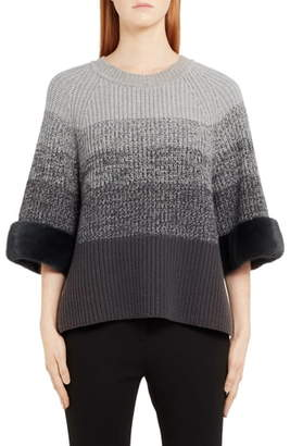 Fendi Degrade Wool & Cashmere Sweater with Genuine Mink Fur Cuffs