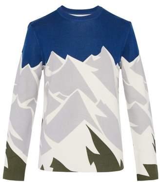 Aztech mountain Aztech Mountain - Mountain Print Wool Top - Mens - Blue Multi