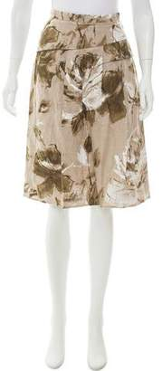 Max Mara Floral Print Linen Skirt