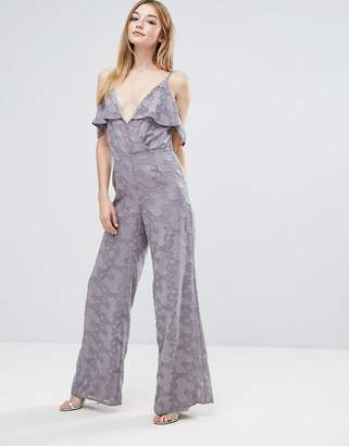 Oh My Love Cold Shoulder Jumpsuit With Frill Detail